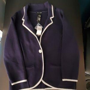 Navy blue, grey trim, on button up Milano Cardigan